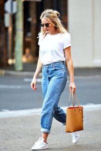 Bloglovin+Blog+Ways+To+Wear+White+Tee+Denim+Looks+Round+Sunglasses+Tucked+In+T-Shirt+High+Waist+Boyfriend+Jeans+Adidas+Sneakers+Camel+Tote+Blogger+Style+Via+Brooke+Testoni