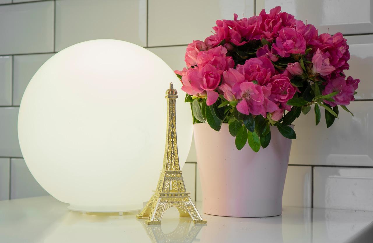 Masanın üzerinde duran Eyfel Kulesi maket modeli, arkasında top şeklinde abajur ve yanlarında saksıda çiçek