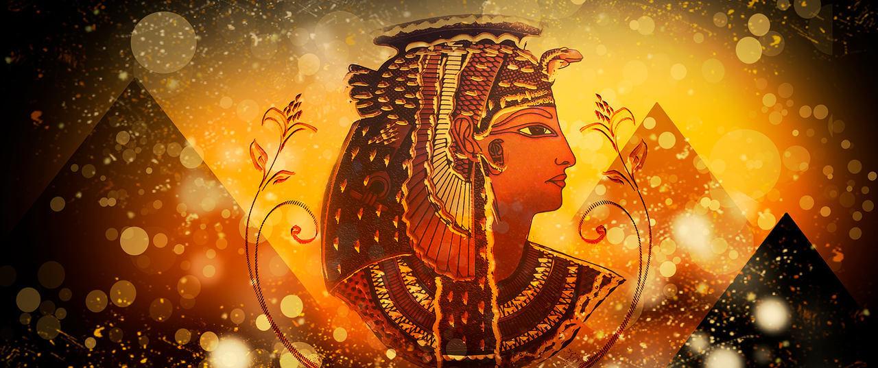 Eski Mısır döneminde Kleopatra çizimi.