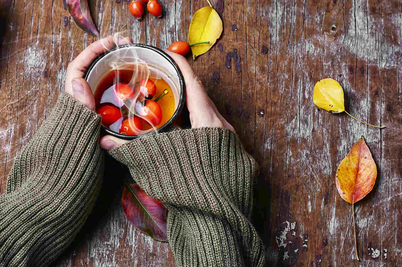 elinde bir fincan kuşburnu çayı tutan bir kadın